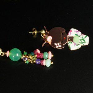 Orecchini donna con Kokeshi in Argento rosa, Crisoprasio, Pasta di Corallo, Agata, Giada glicine e Argento placcato oro