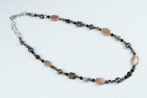 Collana Ematite, Pietra di Sole, Perle e Argento
