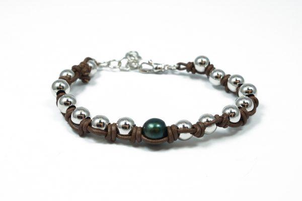 Bracciale uomo cuoio argento perla coltivata BR0719