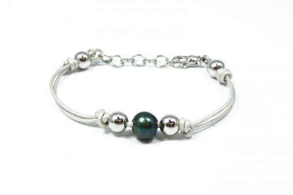 Bracciale cuoio bianco argento perla coltivata BR0819