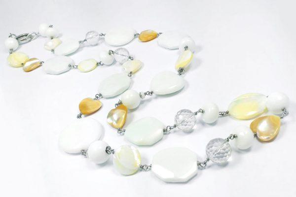 Collana Agata bianca, Cristallo di Rocca, Madreperla I0319
