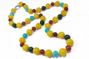Collana Ambra naturale Amazzonite Argento G11017