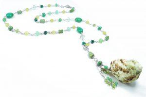 Collana conchiglia crisoprasio turchese verde G1619