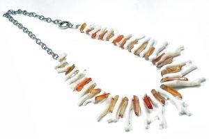 Collana rami Corallo bianco Citrino argento I3316