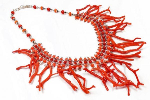 Collana rami corallo rosso naturale Corallo bamboo I9218