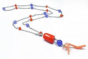 Collana ramo Corallo rosa Giada glicine Argento I7118