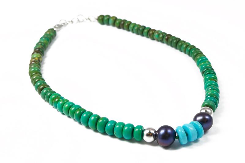 Collana uomo Turchese blu Arizona verde Cina Perle di fiume I4419