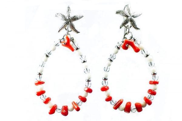 Orecchini Corallo naturale Agata bianca Argento OR2318