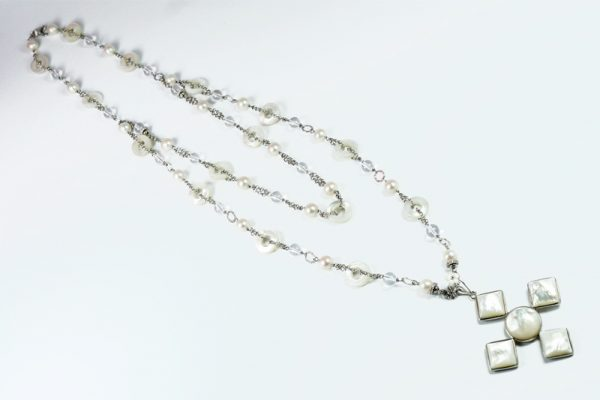 Collana madreperla cristallo zirconi argento G6919