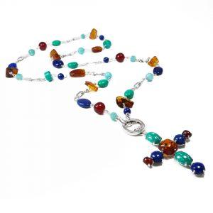 Collana lunga da donna con pendente croce colorata I6819