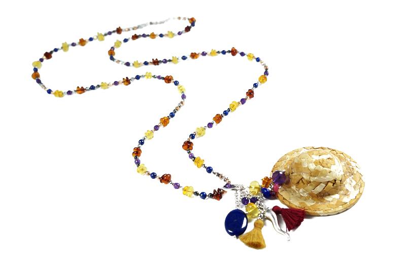 Collana lunga in Lapis, Ambra, Ametista, Ematite, Argento e ciondolo in cappellino di paglia G8519