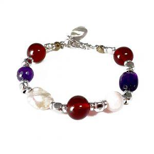 Bracciale donna ametista, ambra, opale rosa, perle melange e ematite BR7219