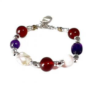 Bracciale ametista, ambra, opale rosa, perle melange e ematite BR7219