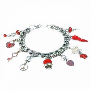 Bracciale maglia grossa argento e charm in corallo rosso