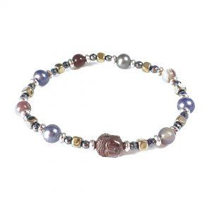 Bracciale donna elastico in ematite, perle e agata BR13918BIS