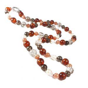 Collana lunga ambra, perle e quarzo G12719