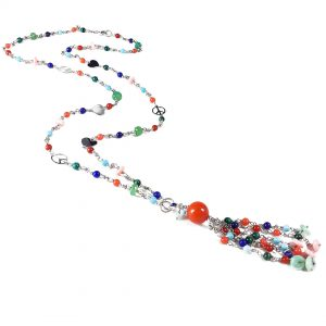 Collana lunga corallo bamboo e pietre colorate I4518