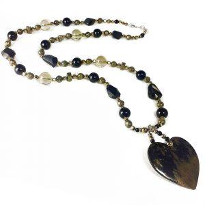 Collana con pendente a cuore in tormalina nera e quarzo fumé G17318