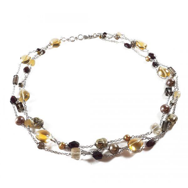 Collana girocollo da donna triplo filo argentato con citrino, perle, quarzo e ematite I14719
