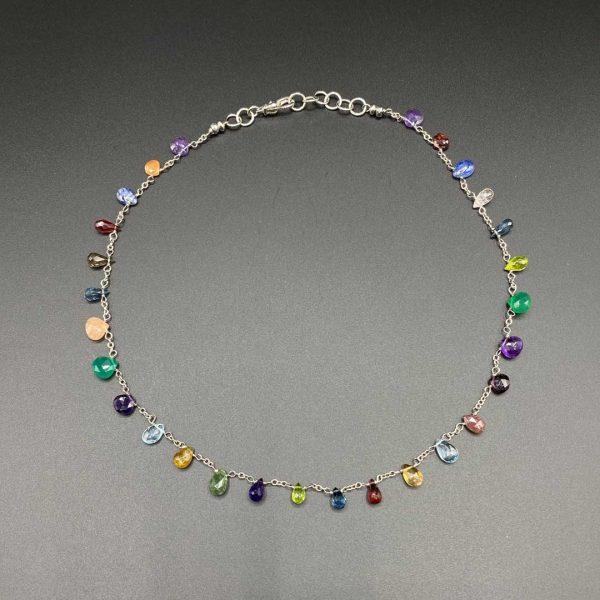 Collana girocollo in argento e topazio, ametista, cianite, granato, peridoto, citrino G14819