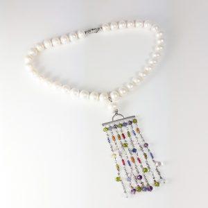 Collana donna girocollo perle, pendente chandelier I0219