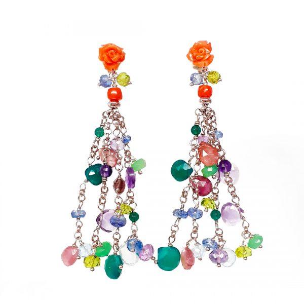 Orecchini chandelier pendenti in pietre colorate OR14319