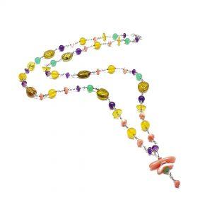 Collana donna ambra naturale, ametista, corallo e argento G8719