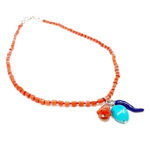 Collana girocollo donna in corallo rosso e pendente in turchese lapis e corallo G1720