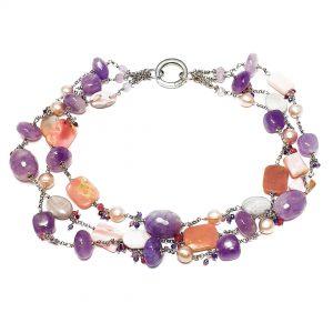 Collana girocollo donna in ametista viola, perle e argento I16119