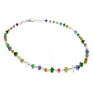 Collana girocollo da donna in maglia fine d'argento e pietre colorate G18819