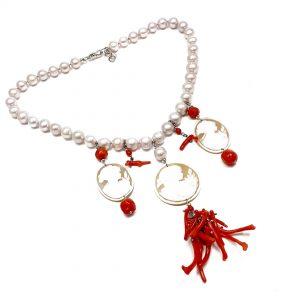 Girocollo perle con cammei di Torre del Greco e rami di corallo rosso I5218