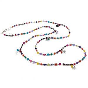 Collana lunga da donna con pietre colorate sfaccettate e argento G9319