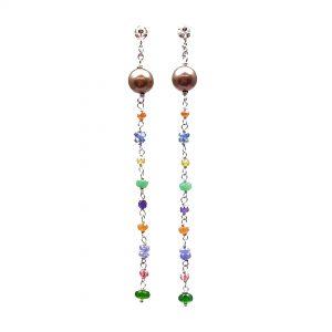 Orecchini pendenti a catenina in argento con pietre colorate e perle OR19119