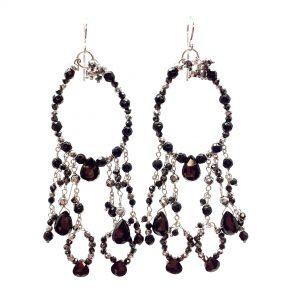 Orecchini chandelier con spinello in agata nera e argento OR19619
