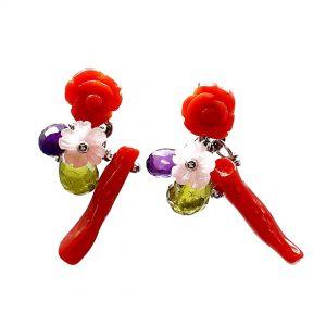 Orecchini a lobo con rosellina in corallo rosso e fiori madreperla OR17119