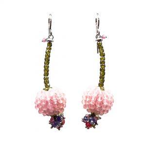 Orecchini pendenti lunghi con quarzo rosa, tanzanite, corniola e zirconi OR16419