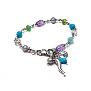 Bracciale argento acquamarina perle ametista BR3020