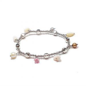 Bracciale elastico in argento madreperla corallo bianco agata BR0620