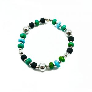 Bracciale elastico uomo Turchese verde e azzurro pasta di pietra lavica argento BR4920