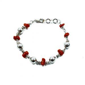 Bracciale uomo Corallo rosso e argento BR5020