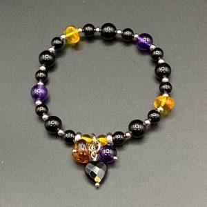 Bracciale elastico da donna in agata nera, ametista e ambra BR10220