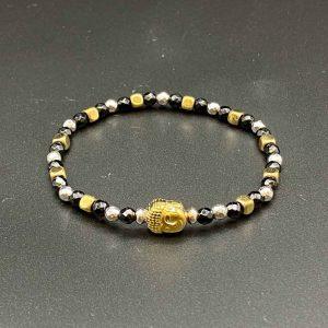 Bracciale elastico da donna in agata nera, ematite oro e argento BR11519