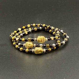 Bracciali elastici da donna in agata nera, ematite oro e argento BR11519