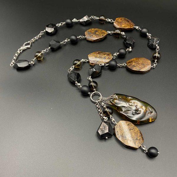 Collana lunga da donna in agata nera satinata, quarzo fumè, bronzite, ambra e argento G16519