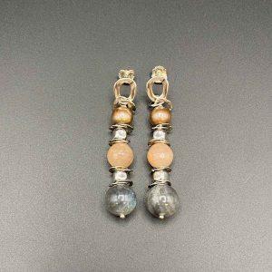 Orecchini pendenti in Labradorite Perle Adularia e Argento OR10020