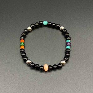 Bracciale elastico da uomo in agata nera, corallo bamboo e rosa, ametista, aulite, turchese Arizona e argento BR10520
