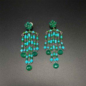 Orecchini chandelier in agata verde e pasta di turchese OR6220