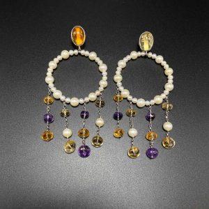 Orecchini chandelier a cerchio in perle, citrino, ametista e argento OR13020