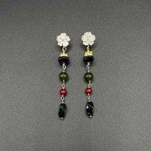 Orecchini pendenti in Madreperla, Avventurina, Ambra, Agata, Zirconi e Argento OR9220