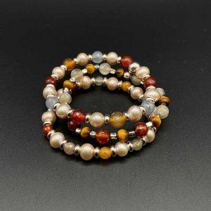 Tris di bracciali elastici da donna in occhio di tigre, perle, corniola e labradorite